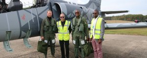 Senegal Chief of Air Force gen. Diop, test pilot Továrek, Dieter John and Jakub Hoda and L-39NG